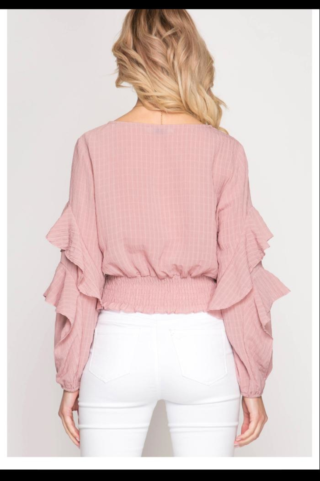 She + Sky Blush Ruffle Top - Front Full Image
