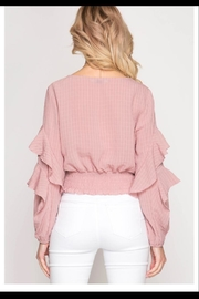 She + Sky Blush Ruffle Top - Front full body