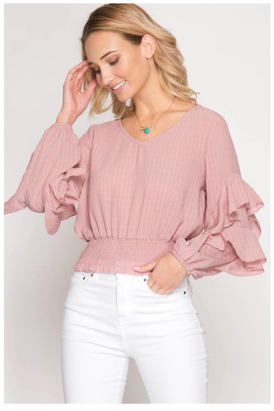 She + Sky Blush Ruffle Top - Main Image