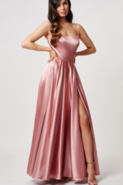 Forever Unique Blush Satin Halter Gown - Product Mini Image