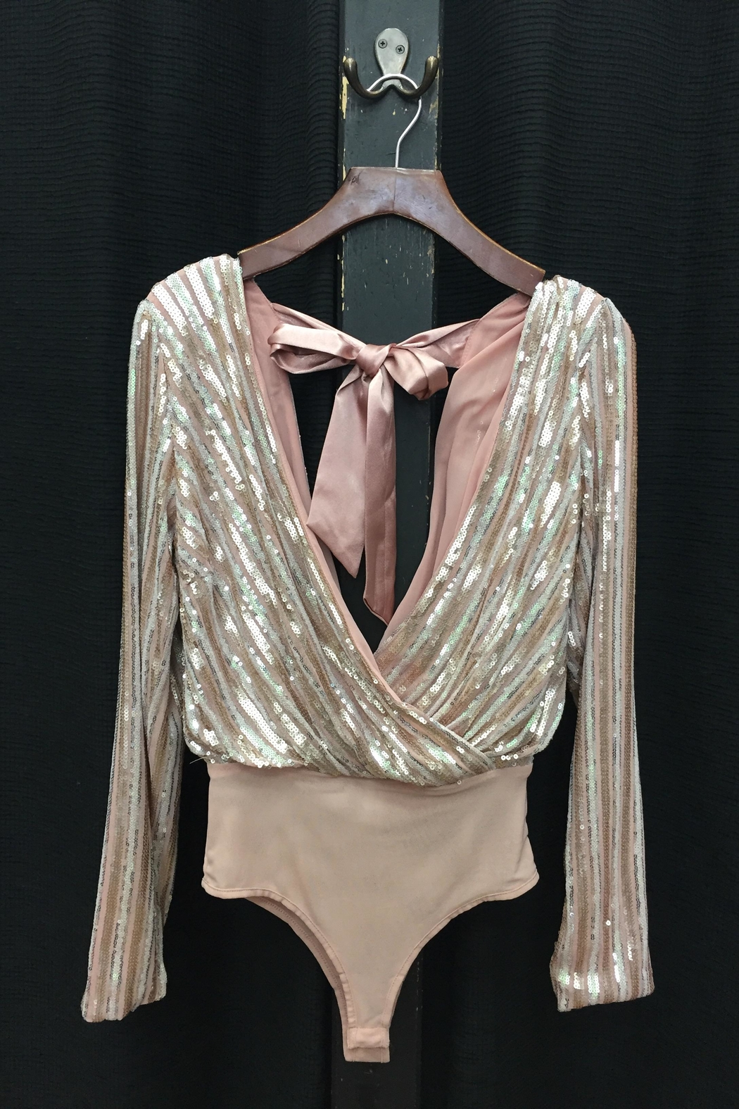 1560774867b Honey Punch Blush Sequin Bodysuit from Los Angeles by Chikas ...