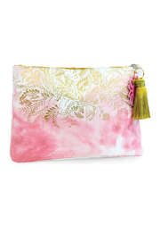 Papaya Blush Watercolor Large Tassel Pouch - Product Mini Image