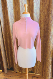 Hidden Brand Blush Zip Up Cropped Sweater - Product Mini Image