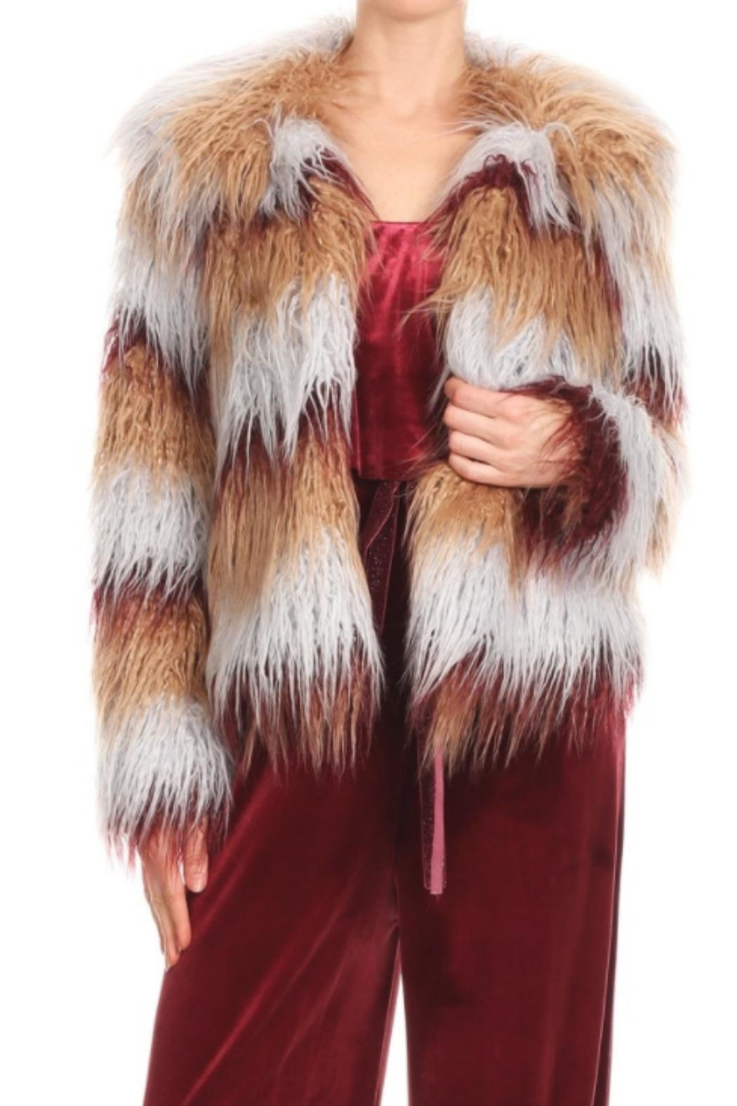 Blush Noir Multi-Colored Fur Jacket - Main Image