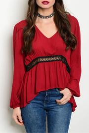 Blush Noir Wine Crochet Top - Front cropped