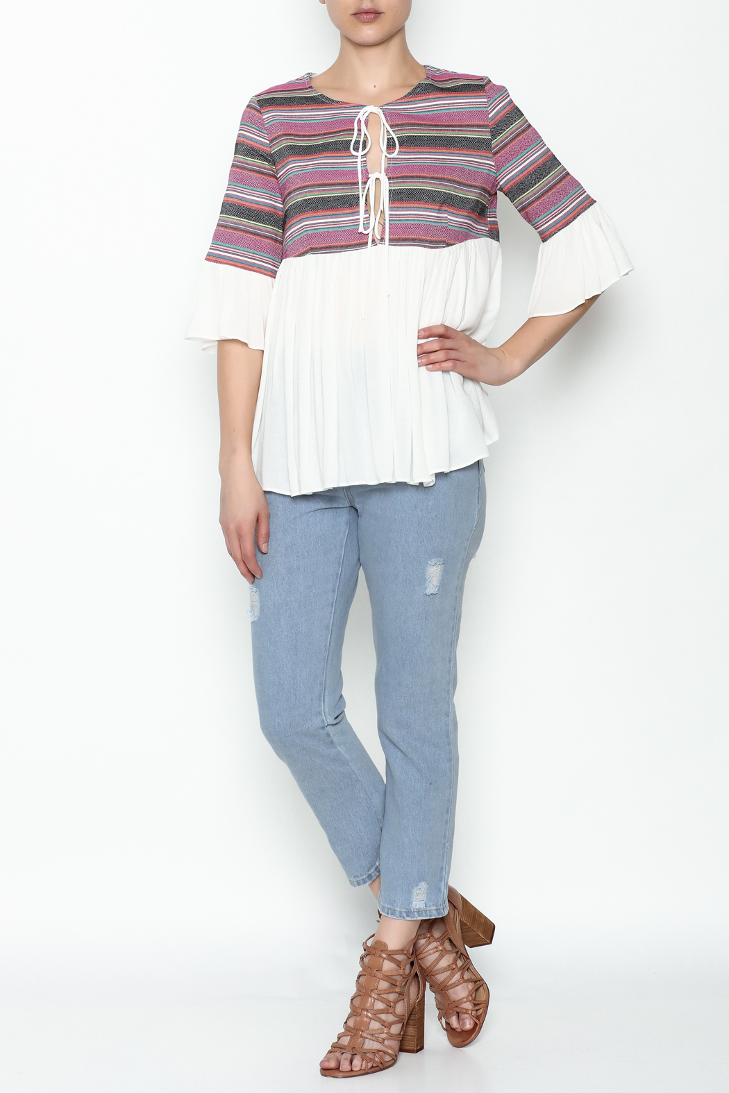 Blushing Heart Peasant Style Blouse - Side Cropped Image