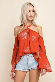Blushing Heart Cold Shoulder Top - Front cropped