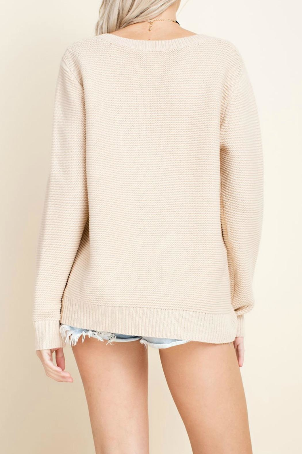 Blushing Heart Cream V-Neck Sweater - Front Full Image