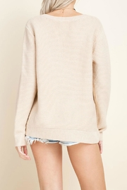 Blushing Heart Cream V-Neck Sweater - Front full body