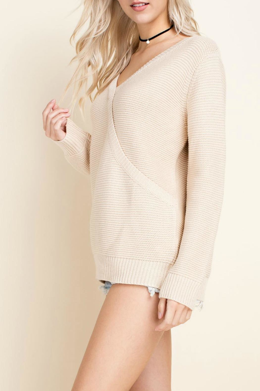 Blushing Heart Cream V-Neck Sweater - Side Cropped Image