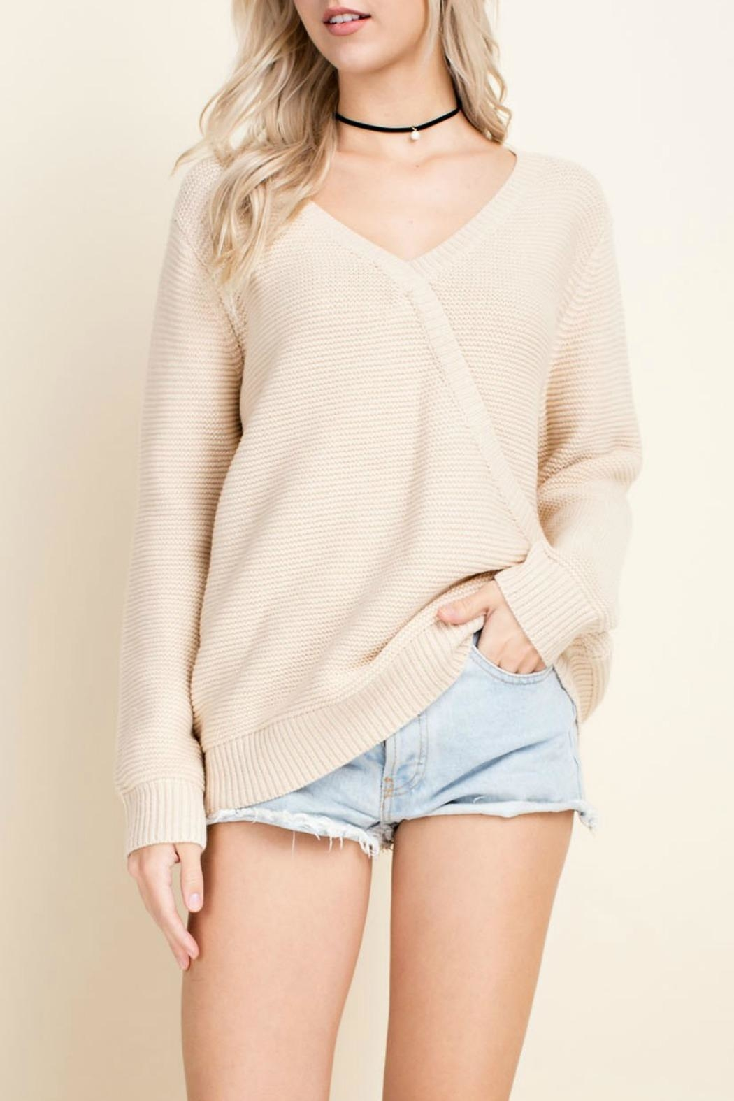 Blushing Heart Cream V-Neck Sweater - Main Image