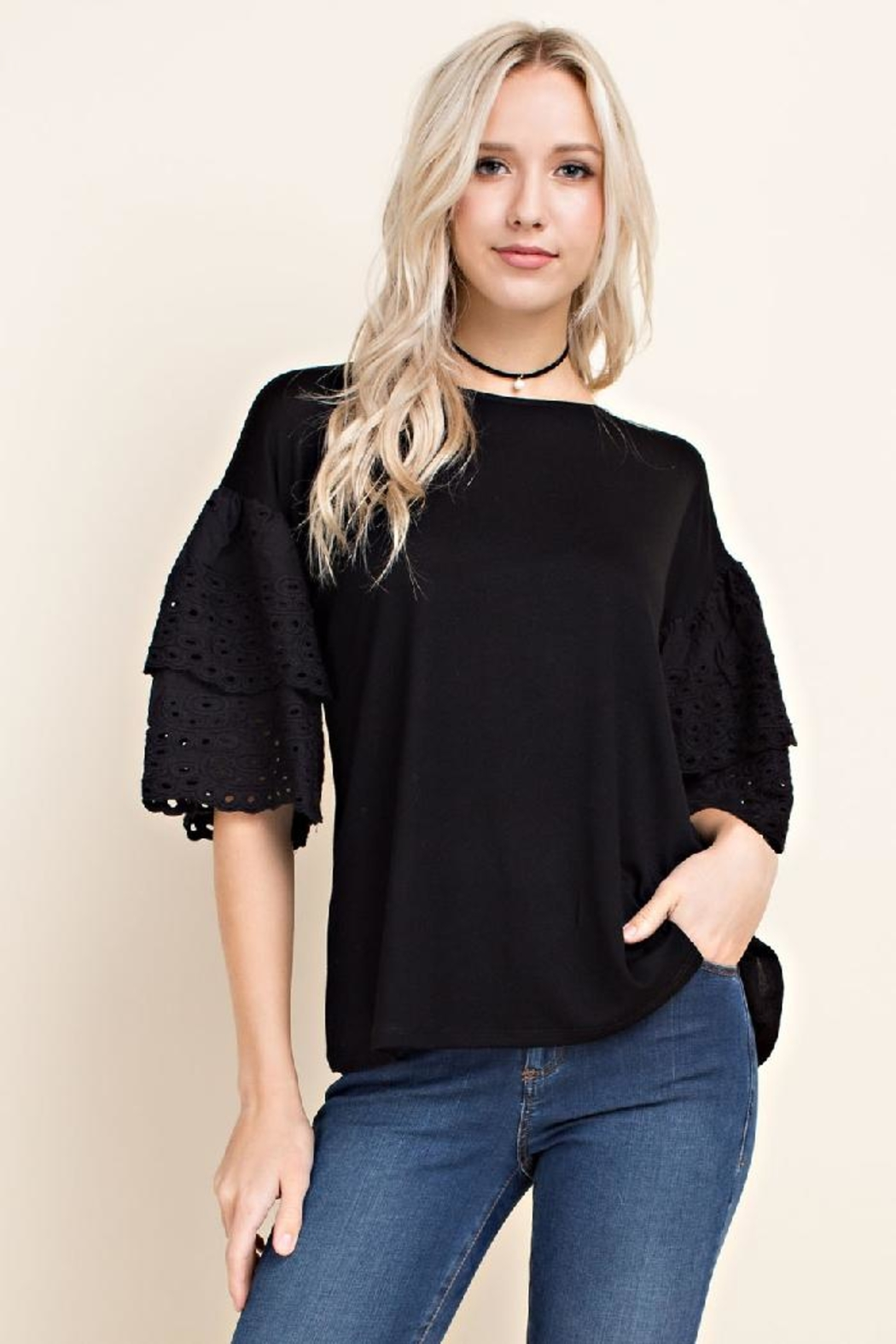 Blushing Heart Eyelet Lace Top - Front Cropped Image