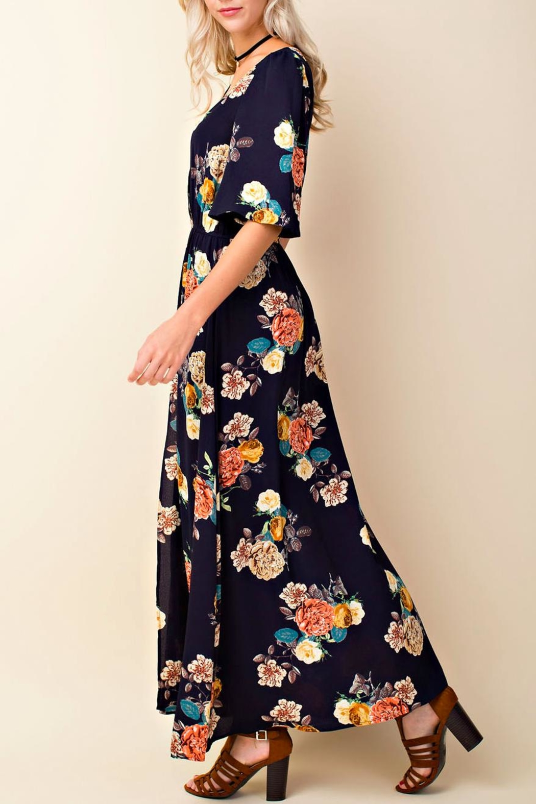 Blushing Heart Floral Maxi Romper - Front Full Image