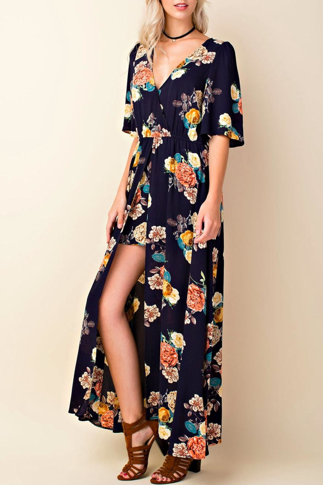 Blushing Heart Floral Maxi Romper - Main Image