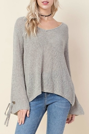 Blushing Heart Grey Knit Sweater - Product Mini Image