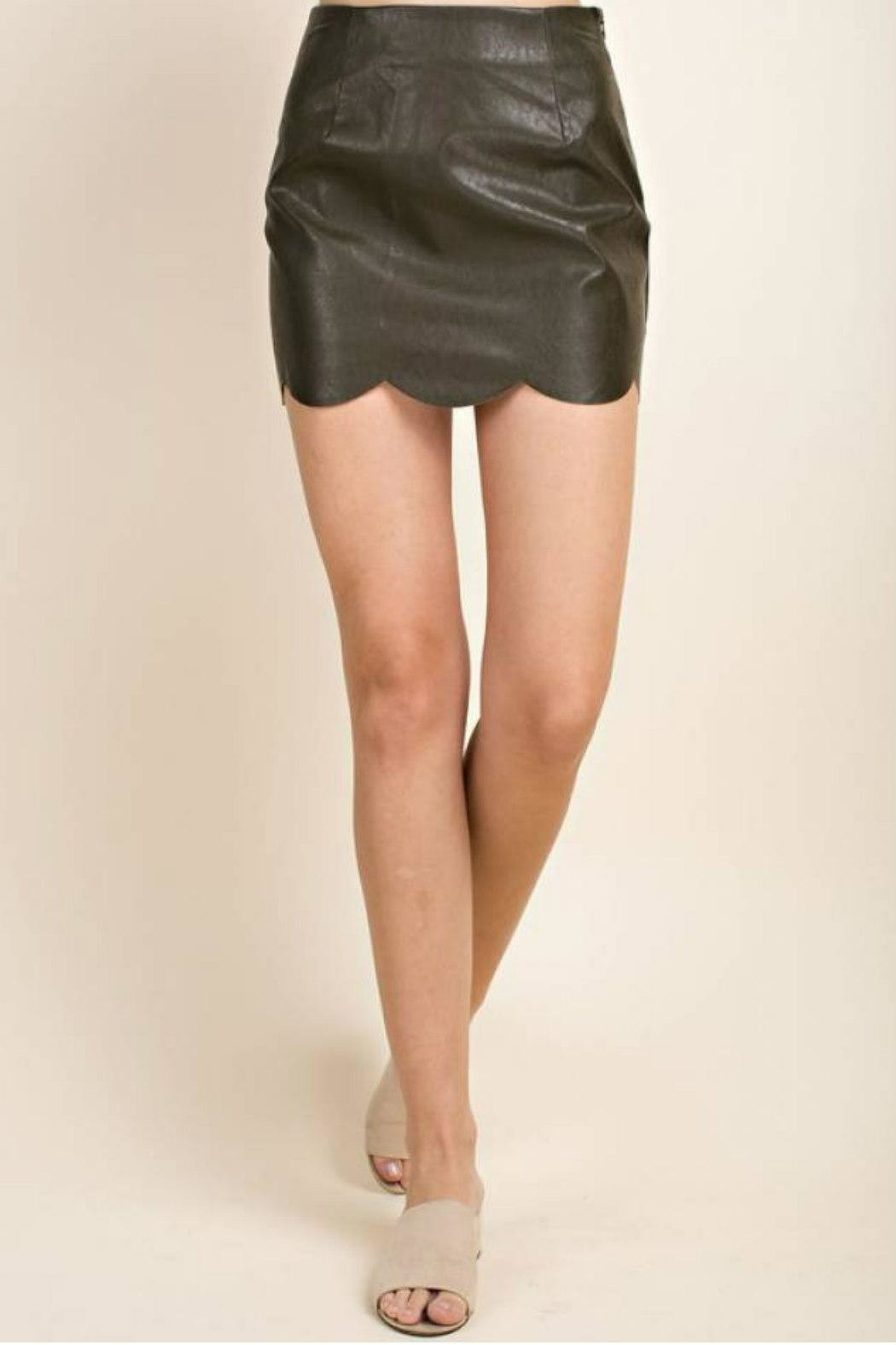 Blushing Heart Scallop Faux-Leather Mini - Front Full Image