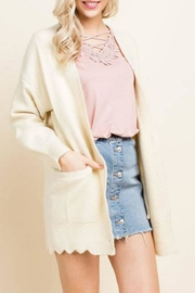 Blushing Heart Scallop Hem Cardigan - Product Mini Image