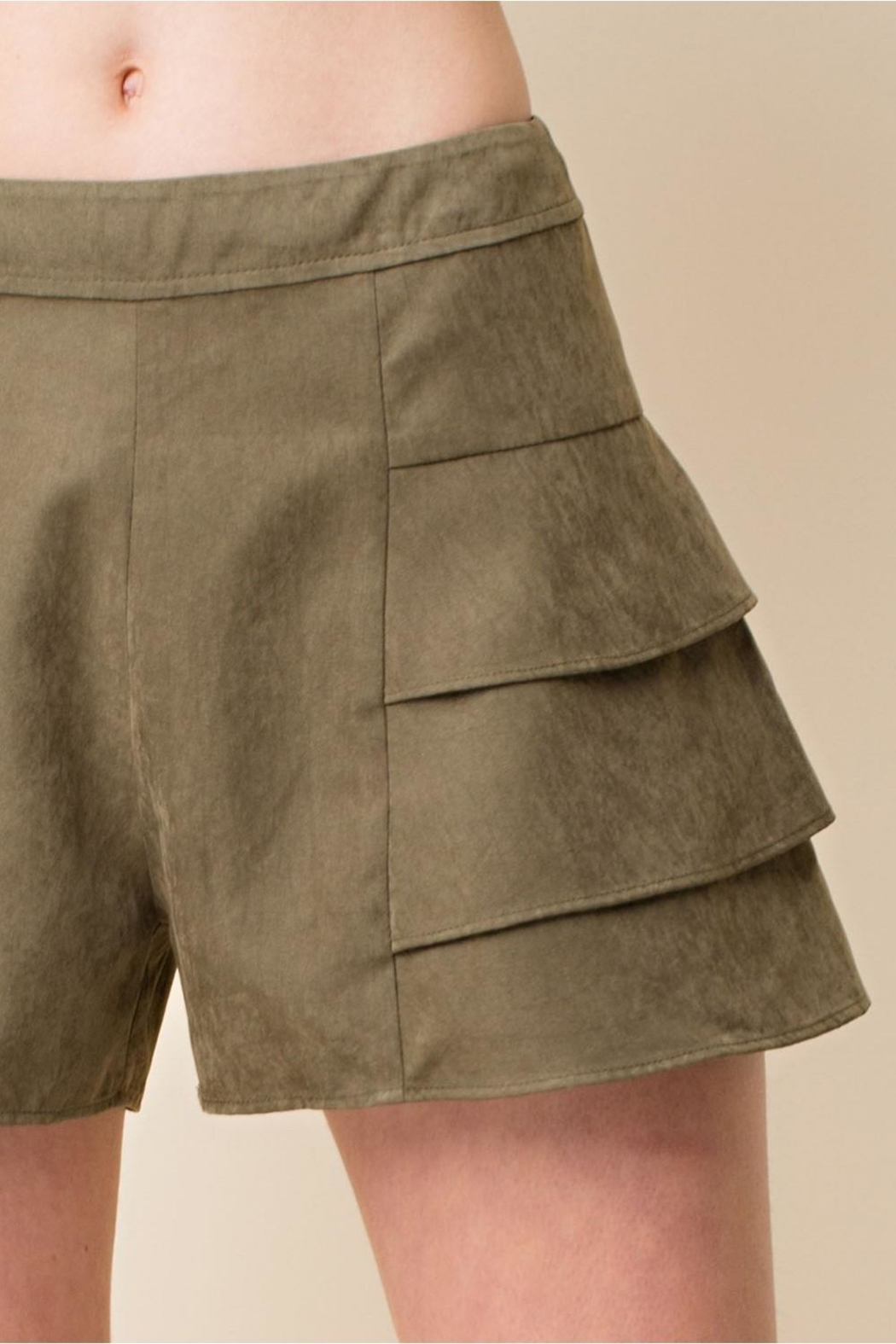 Blushing Heart Suede Tired Shorts - Back Cropped Image
