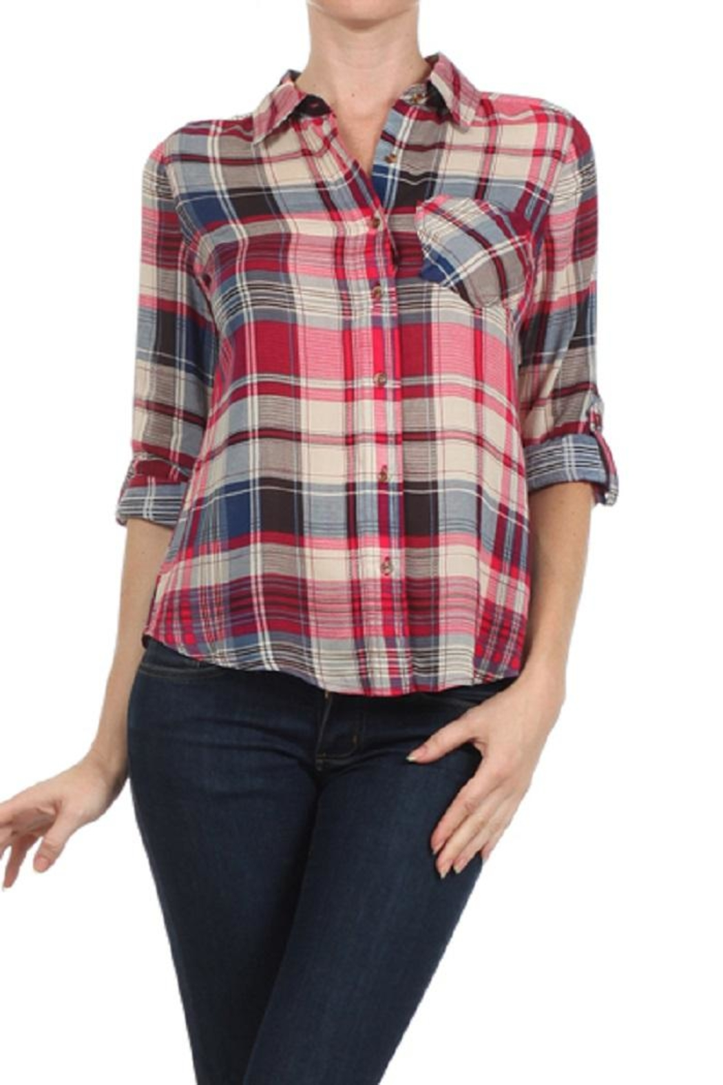Blvd Plaid Button Down - Front Cropped Image