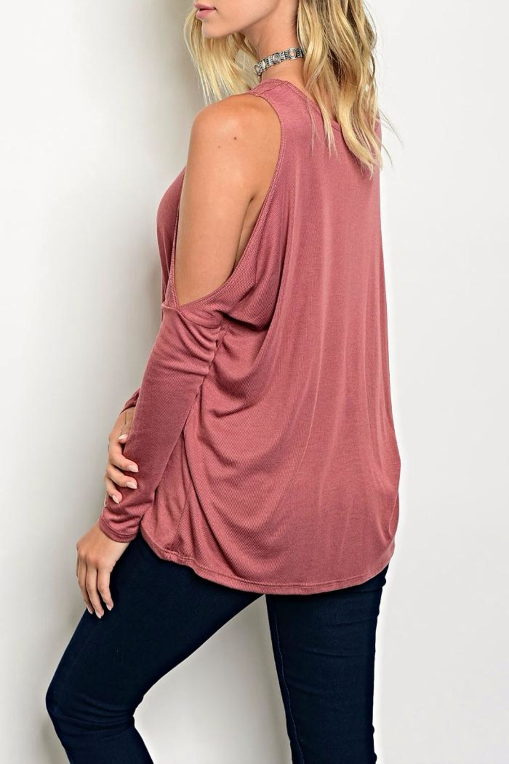 Blvd Rose Cold Shoulder Top - Front Full Image