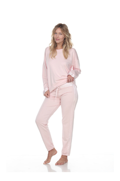PJHARLOW BLYTHE FRENCH TERRY SWEAT PANT WITH SATIN WAISTBAND AND TRIM - Alternate List Image