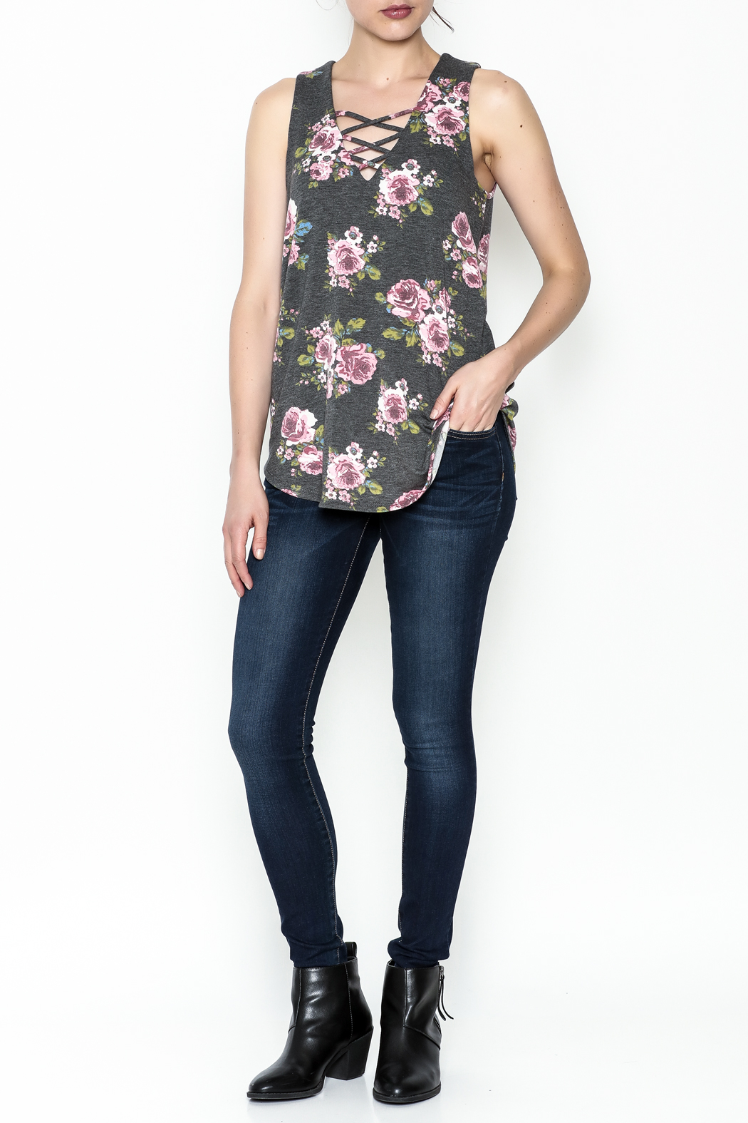Bo Bel Floral Sleeveless Top - Side Cropped Image