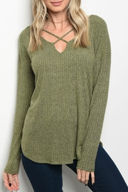 Bo Bel Olive Criss-Cross Top - Front cropped