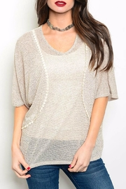 Bo Bel Taupe Slub Knit Top - Product Mini Image