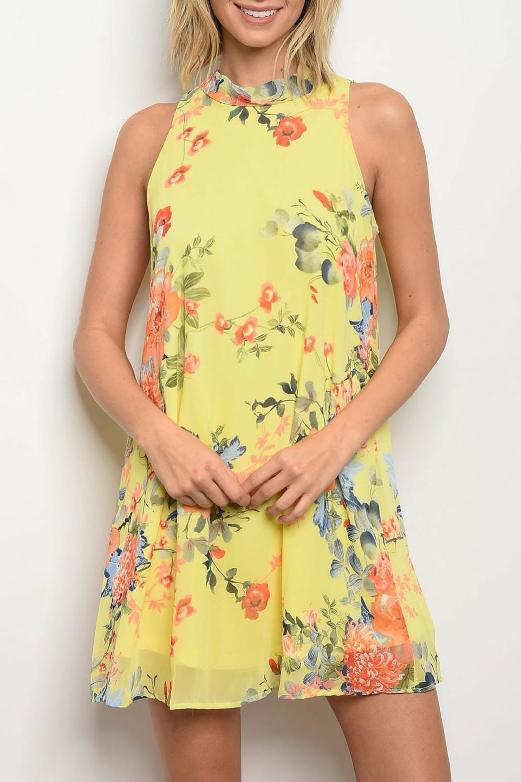 Bo Bel Yellow Floral Dress - Main Image
