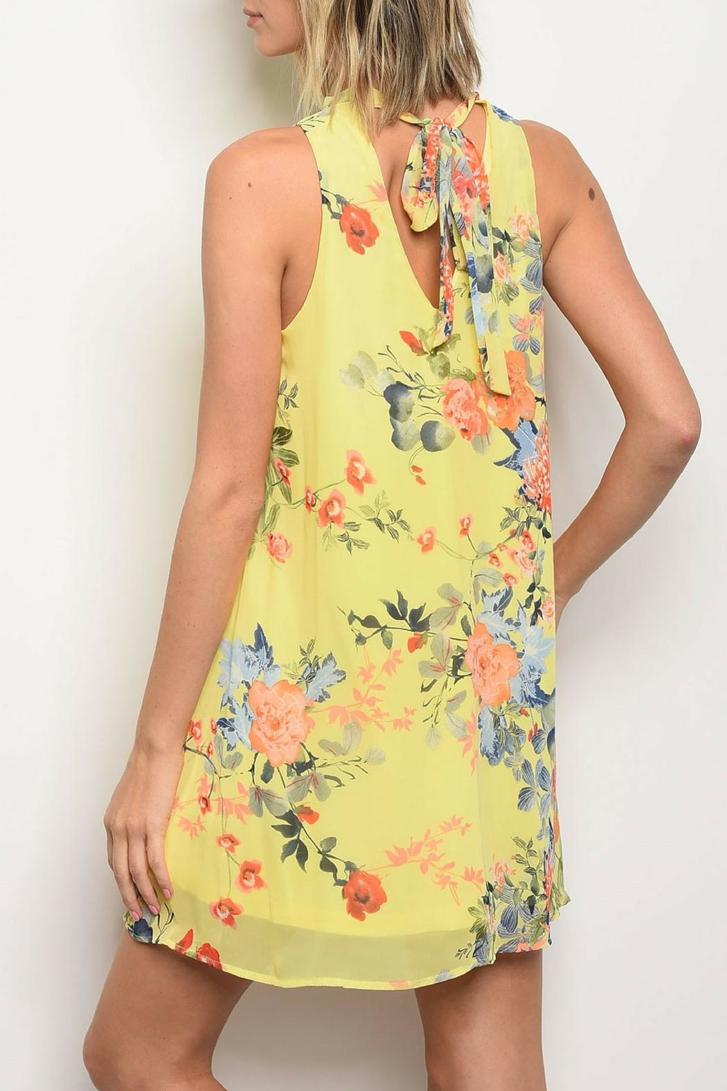Bo Bel Yellow Floral Dress - Front Full Image
