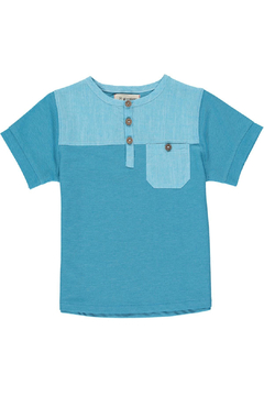 Me & Henry Boardwalk Pique Henley - Aqua - Product List Image
