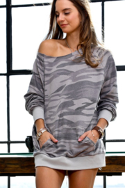 Mazik Boat Neck Camo Tunic Top - Product Mini Image