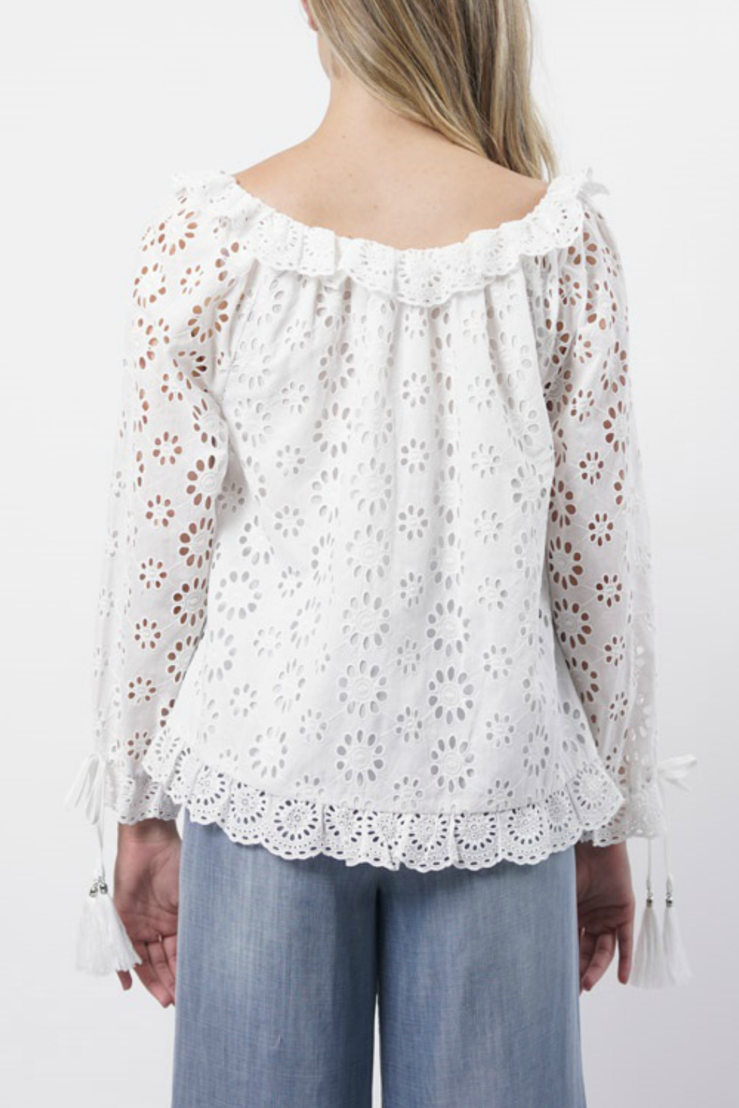 Stellah Boat Neck Eyelet Lace Top - Front Full Image