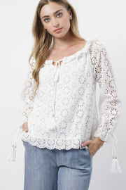 Stellah Boat Neck Eyelet Lace Top - Front cropped