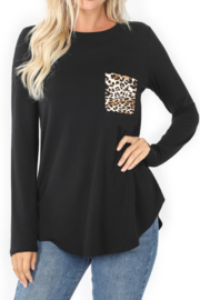 Aria and Clara Boat Neck Long Sleeve Curved Hem Tunic with Print Pocket - Product Mini Image