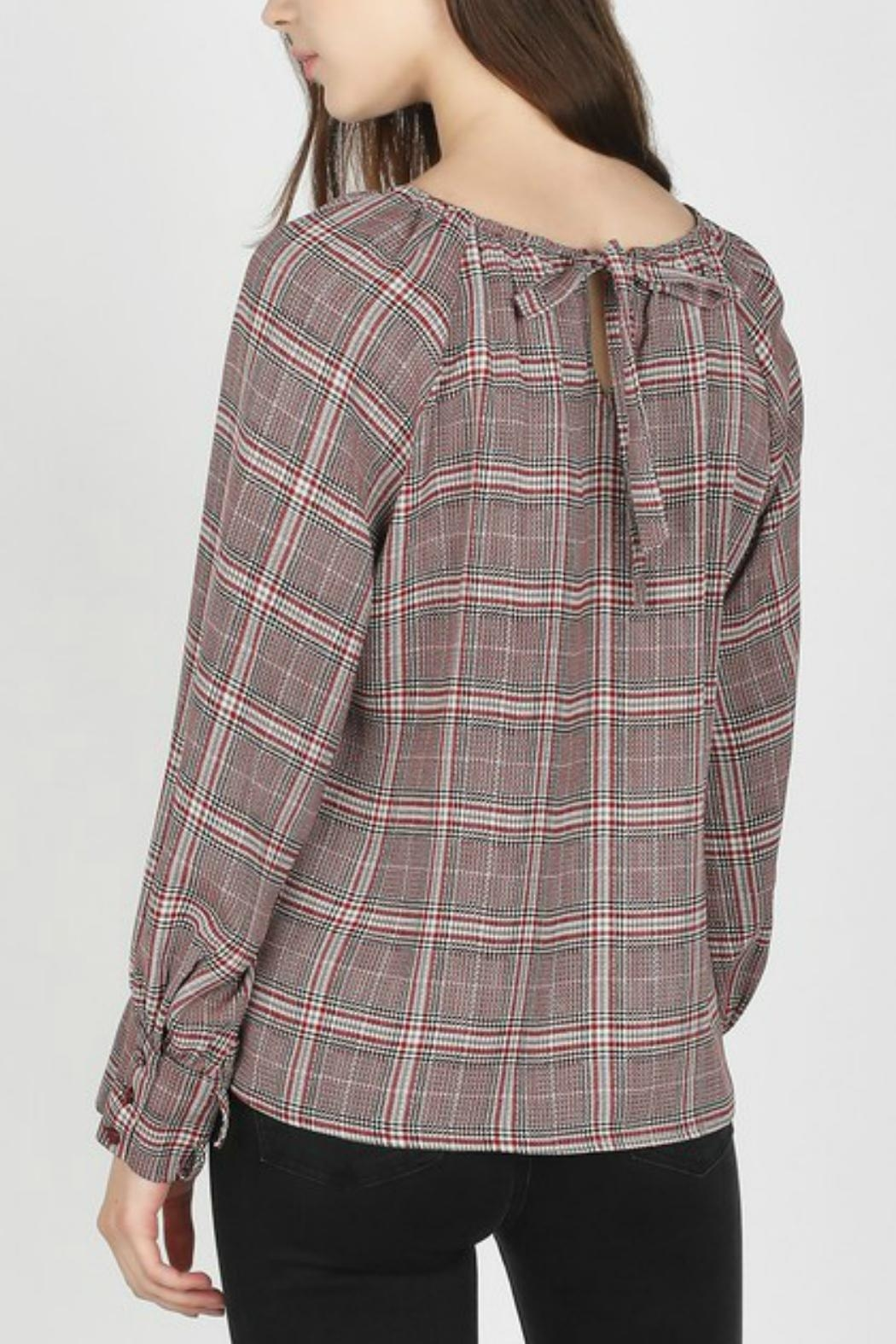 Skies Are Blue Boat-Neck Plaid Top - Front Full Image