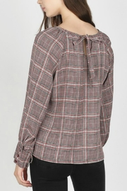 Skies Are Blue Boat-Neck Plaid Top - Front full body