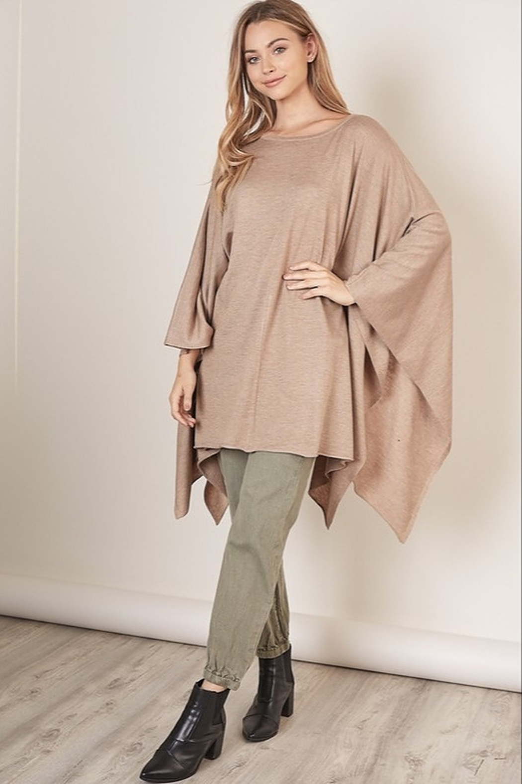 Mustard Seed  Boat Neck Sweater Poncho - Side Cropped Image
