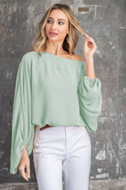 143 Story Boat Neck Volume Sleeve Knit Top - Product Mini Image