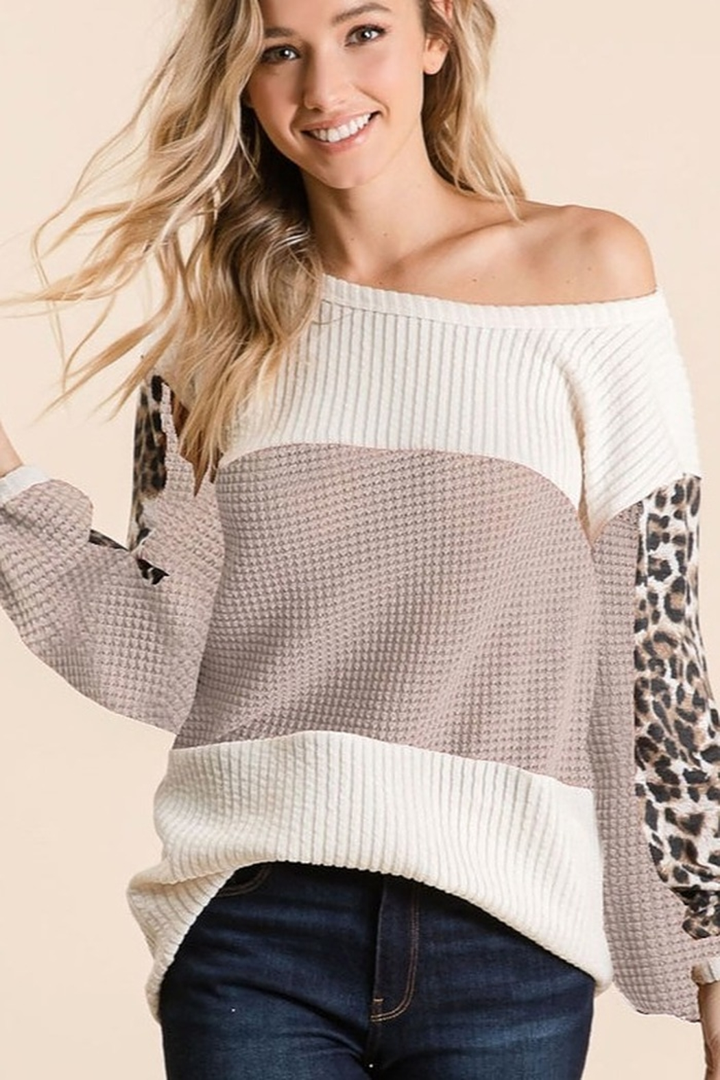 Bibi Boat Neck Waffle Top With Leopard Sleeve - Main Image