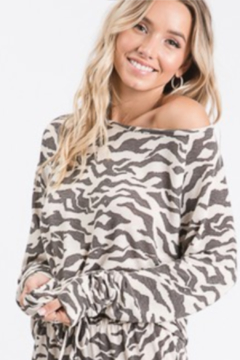Blue Buttercup Boat Neck Zebra Pullover - Product List Image