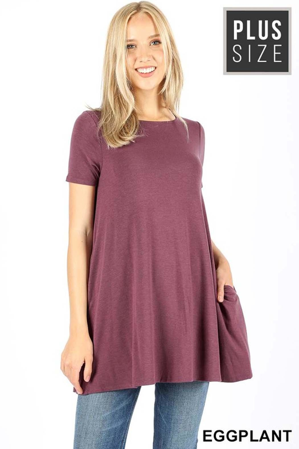 Zenana Outfitters Boatneck Flare Top - Front Cropped Image