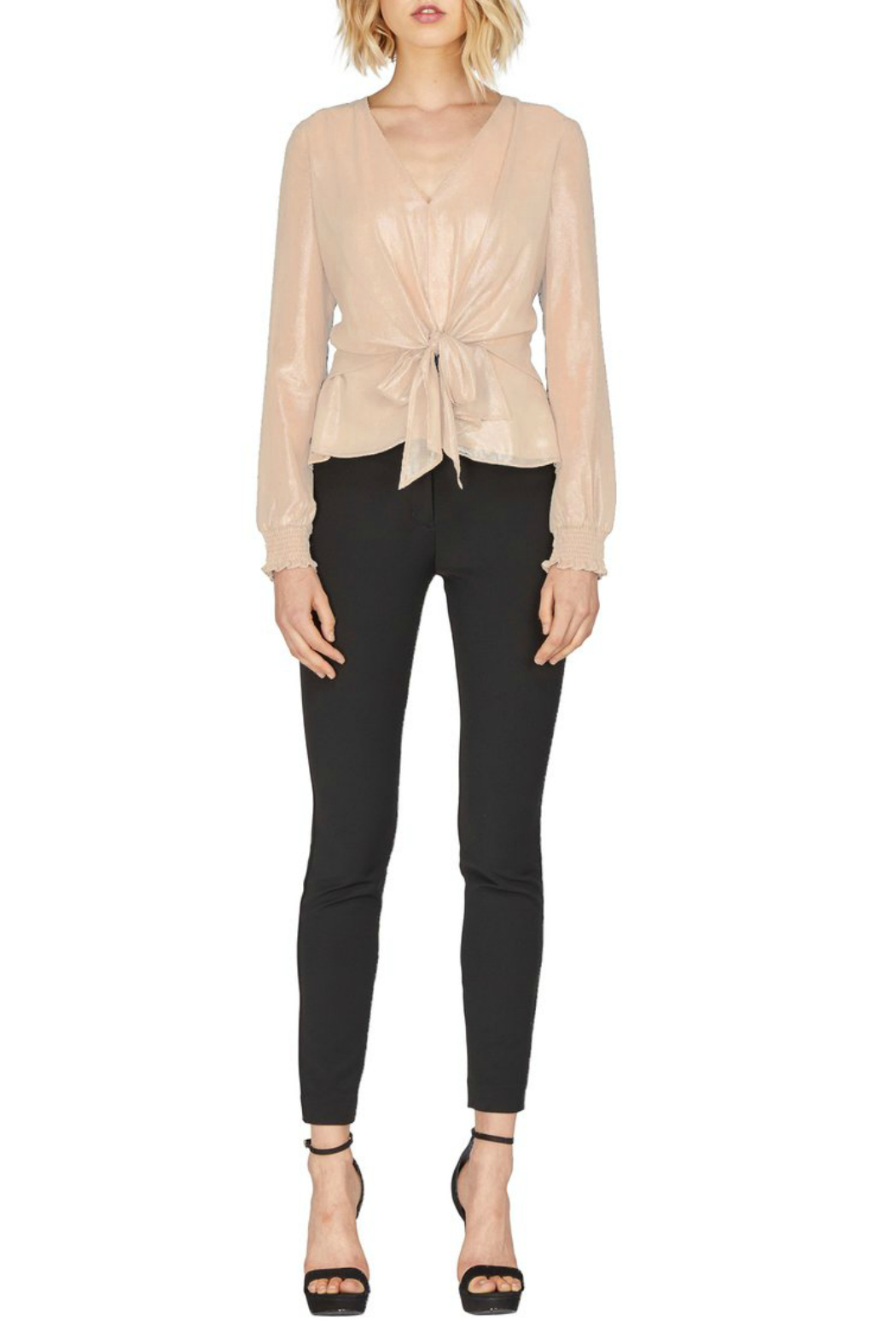 Adelyn Rae Bobbi Champagne Bow Tie Blouse - Front Cropped Image