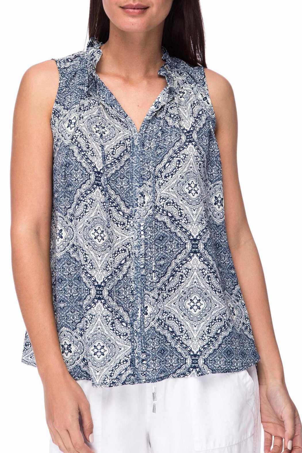 Bobeau Dahlia Printed Blouse - Front Cropped Image