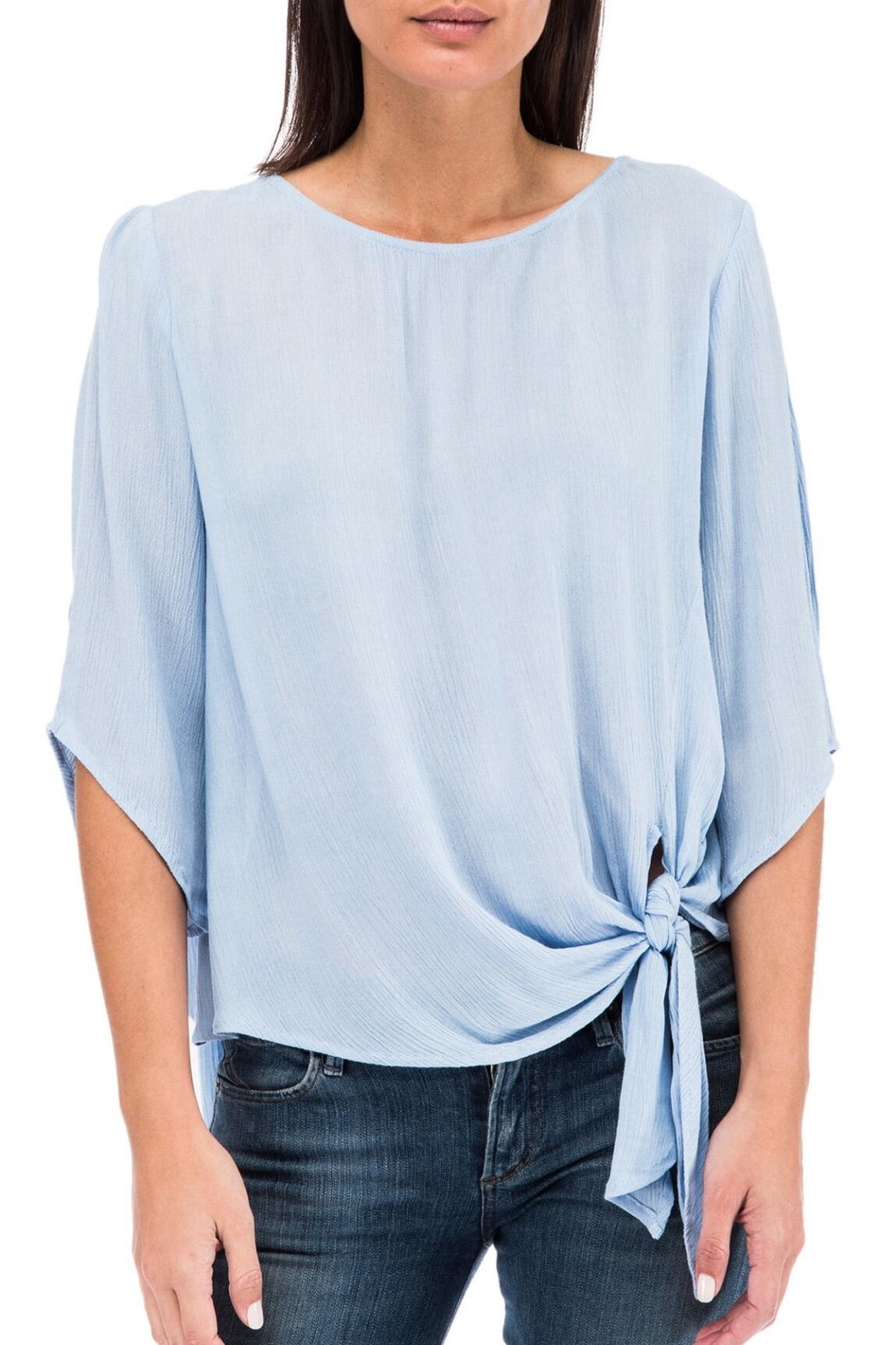 Bobeau Tie Front Blouse - Front Cropped Image