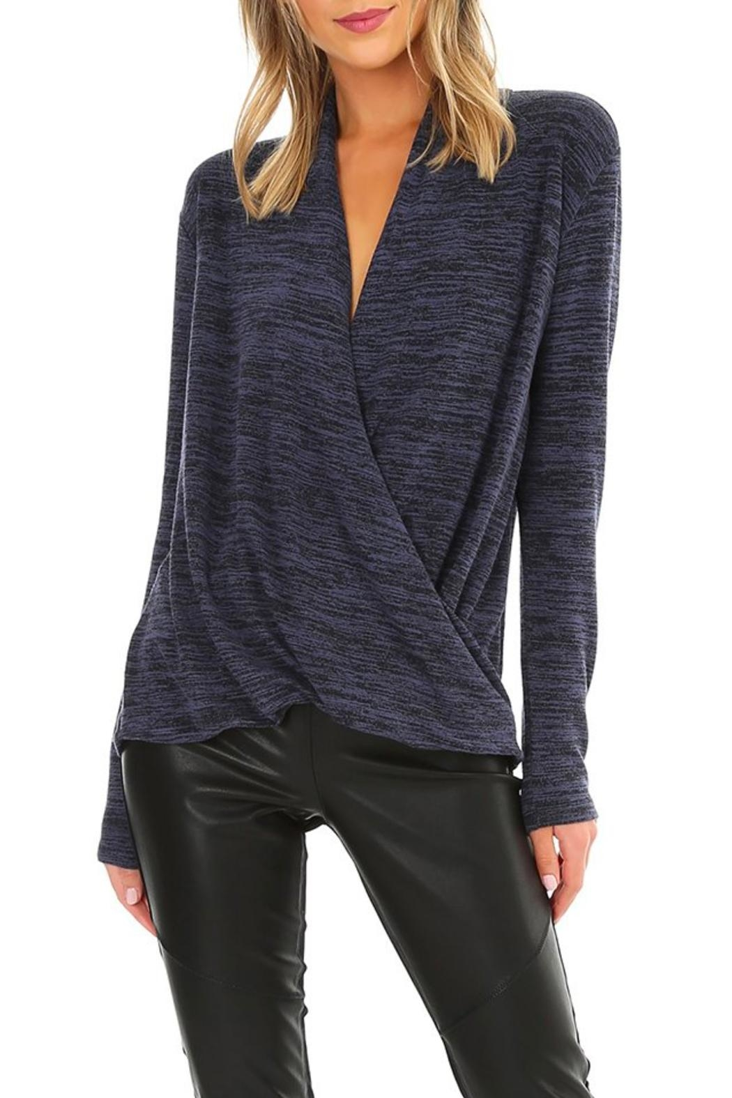 Bobi Heathered Surplice Top - Front Cropped Image