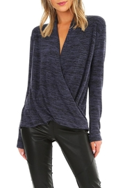 Bobi Heathered Surplice Top - Front cropped