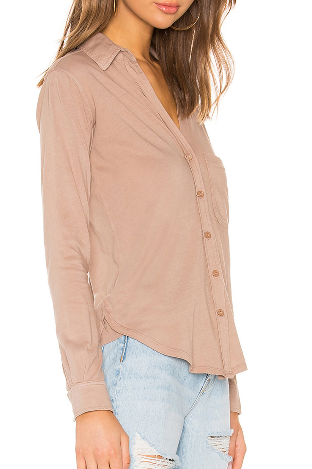 Bobi BOBI LIGHTWEIGHT JERSEY BUTTON DOWN - Front Full Image