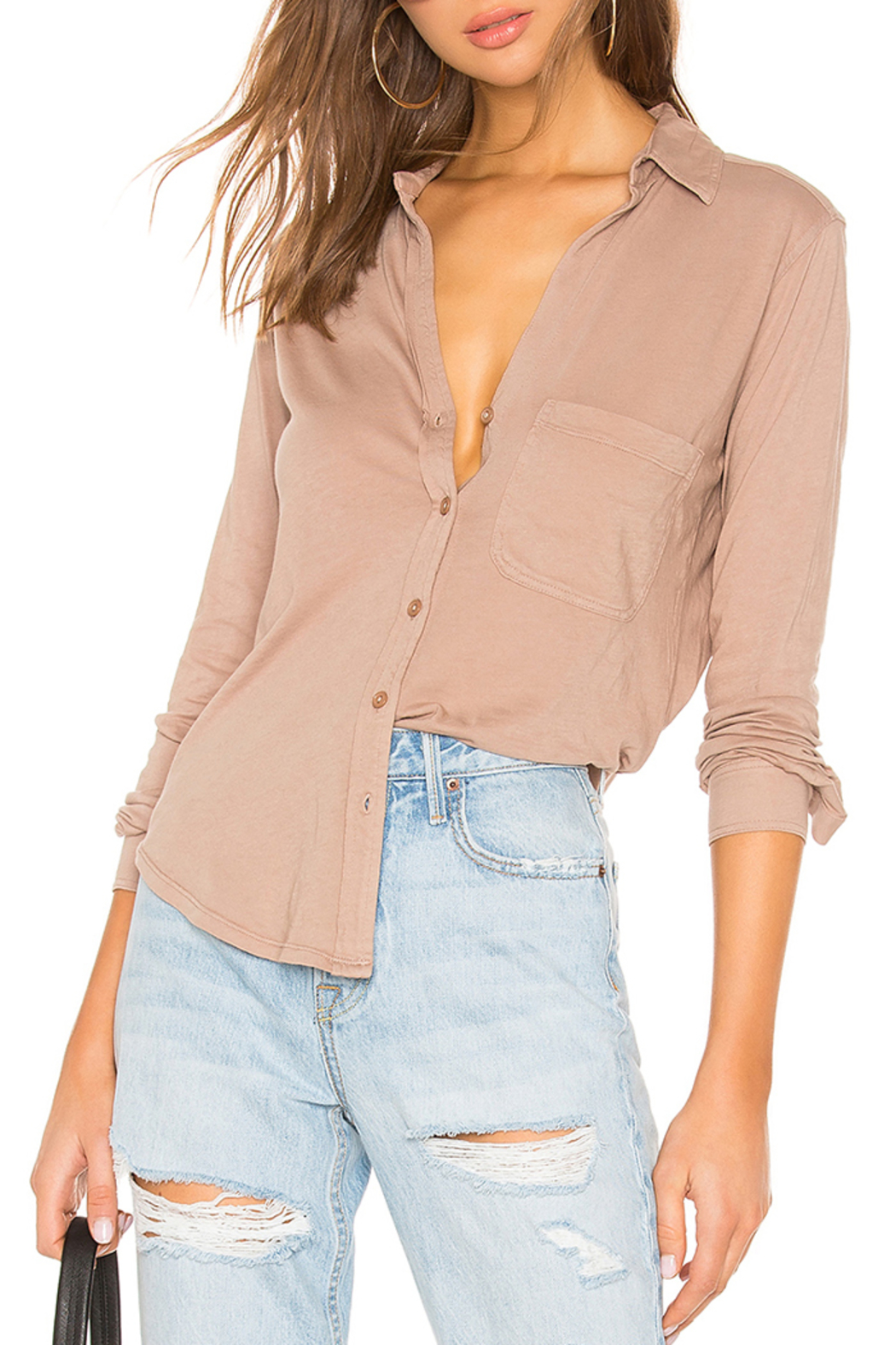 Bobi BOBI LIGHTWEIGHT JERSEY BUTTON DOWN - Front Cropped Image