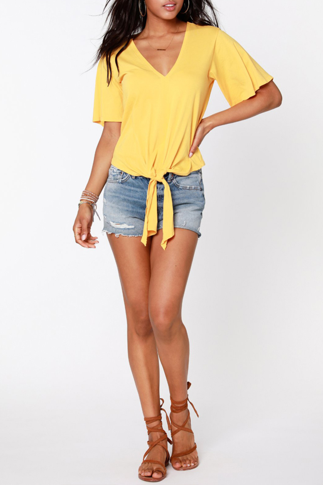 Bobi BOBI V NECK TIE FRONT TOP - Back Cropped Image